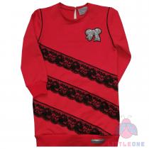 Raudona tunika/suknelė su nėriniais