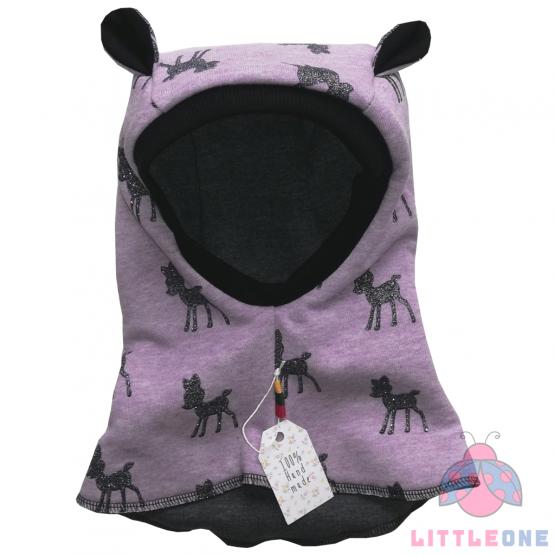 Šalmukas su ausytėmis (violetinis)